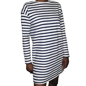 ASOS Navy Blue and White Striped Dress